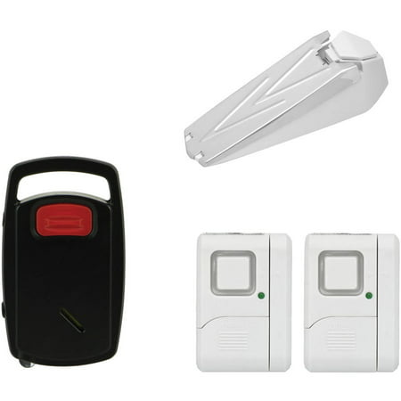 GE Sh50246 Door Stop Alarm, GE 45115 Wireless Window Alarms (2-Pack) and GE 45101 Push-Button Personal Security Keychain Alarm