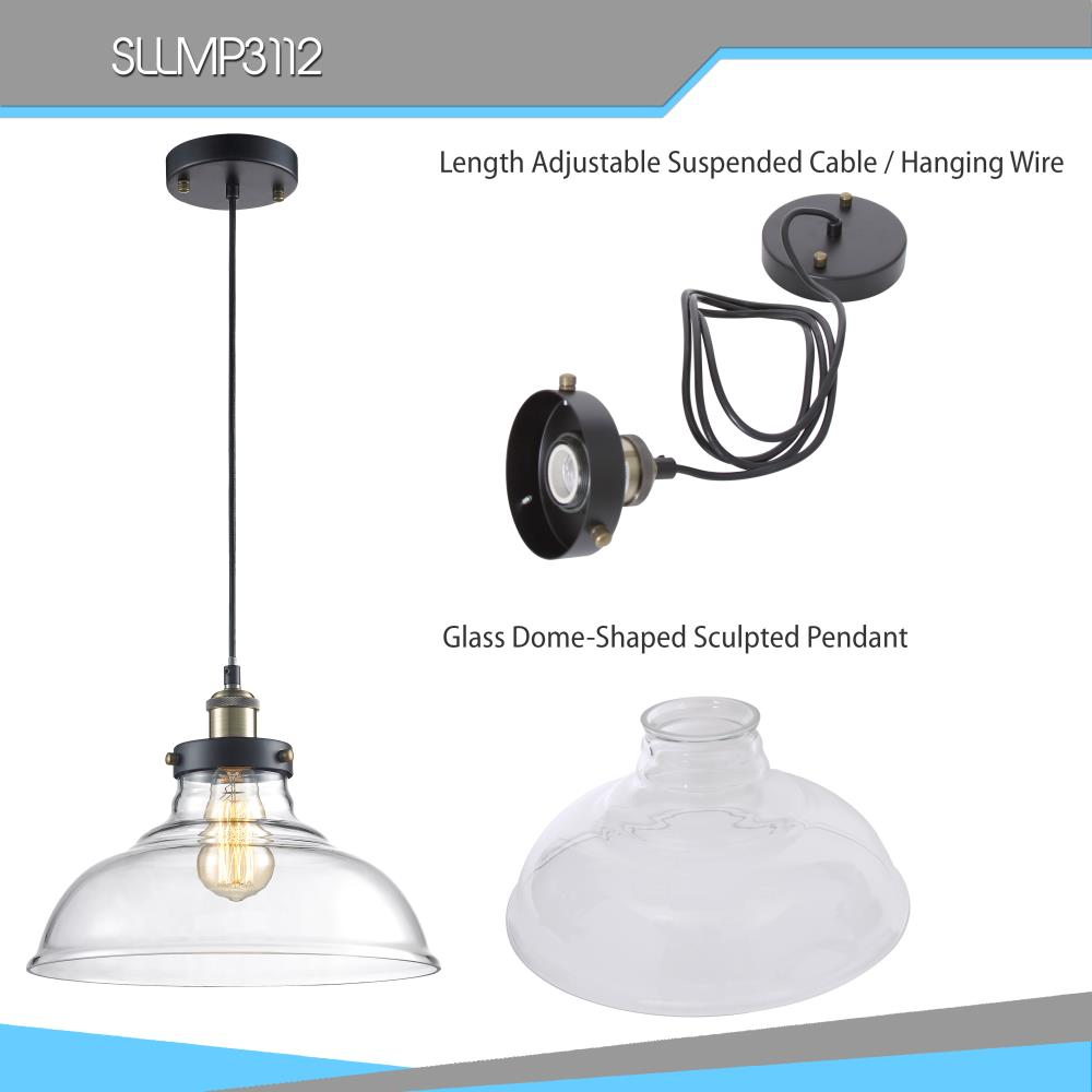 Vintage-Style Glass SLLMP3112 Hanging Lamp Light Fixture Pendant Light