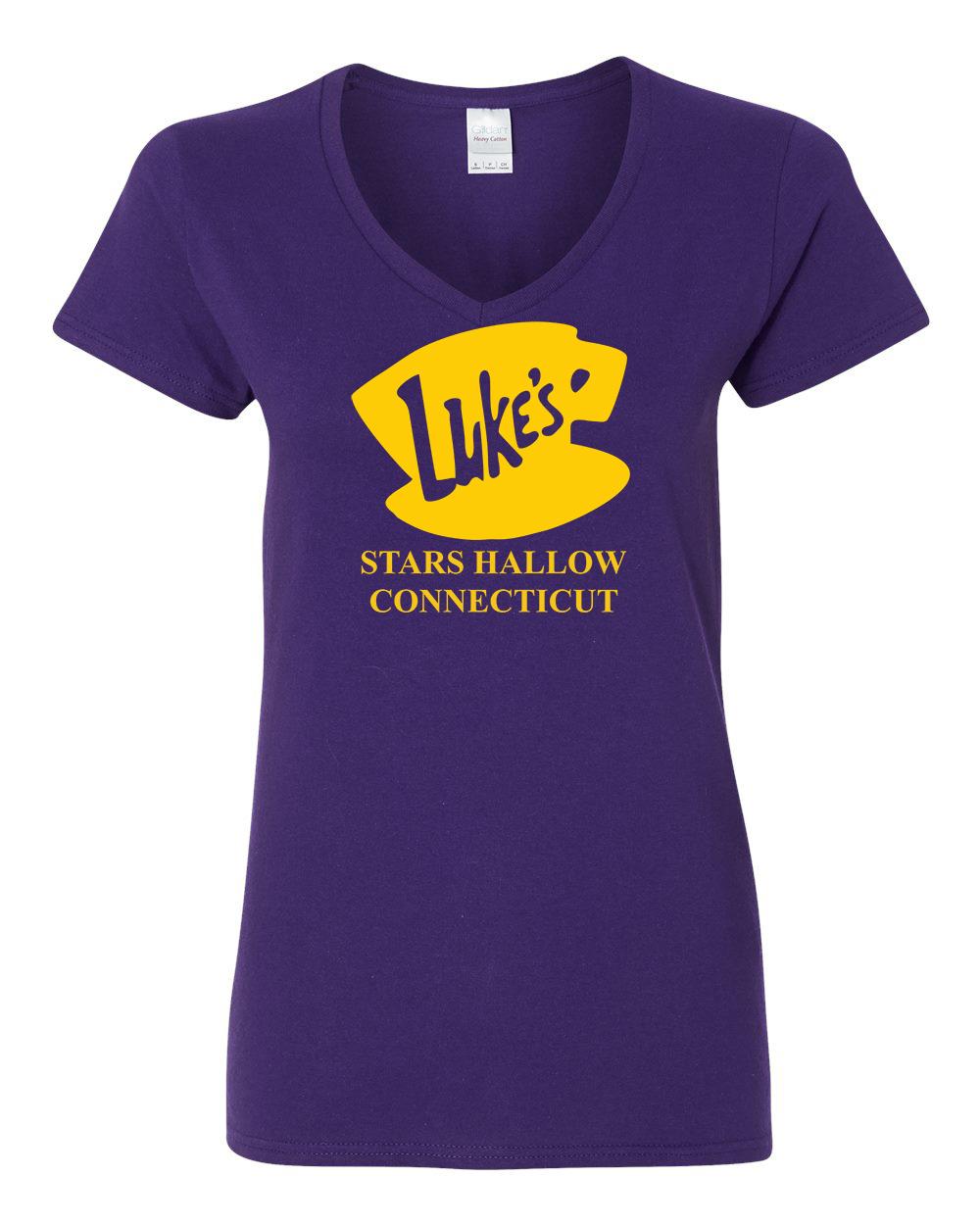 Luke's Diner Stars Hollow CT Gilmore Girls Womens V Neck T-Shirt Top by
