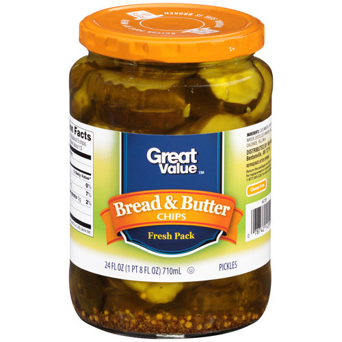 Great Value Bread & Butter Chips Pickles, 24 fl oz
