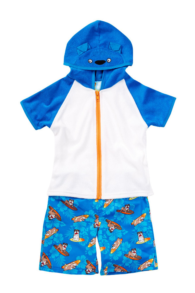 Baby Buns Baby Boys Surfs Ruff! Swim Trunk & Coverup Set 12 months