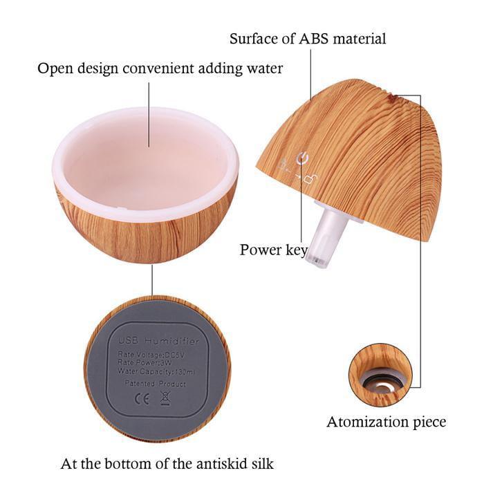 Portable USB  Humidifier Air Purifier Ultrasonic Mute Mist Wood Grain Aromatherapy Humidifier Air Purifier Caroj - image 2 de 7