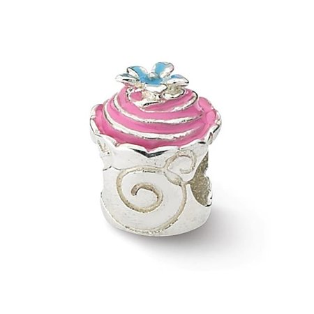 Reflection Beads QRS1881 Sterling Silver Pink Enameled Cupcake Bead - image 1 de 1