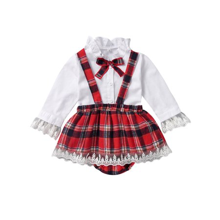 KidPika Christmas NewBorn Kid Girls Plaid Blouse Suspender Skirt 2Pcs Sets Baby Outfits