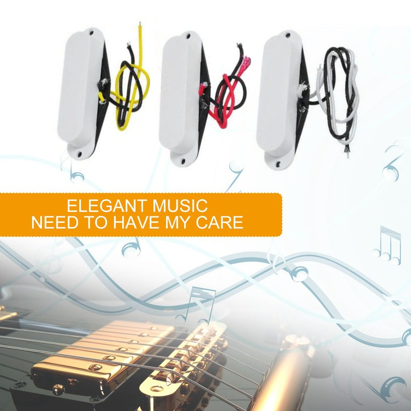 Vintage Set of Single Coil Pickup Neck + Middle + Bridge for Electric Guitar Holiday Gifts, white,