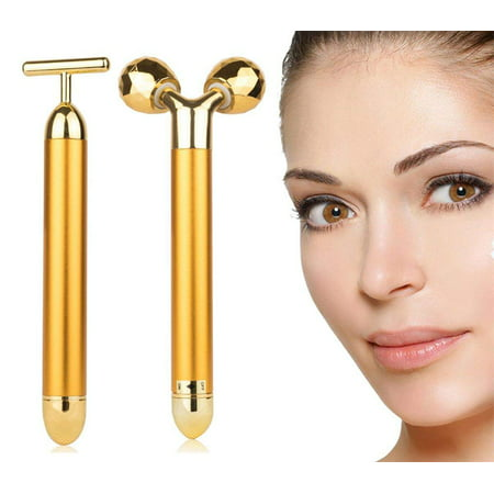 Peroptimist 2-IN-1 Beauty Bar 24k Golden Pulse Facial Face Massager, Electric 3D Roller and T Shape Arm Eye Nose Head Massager Instant Face Lift,Anti-Wrinkles, Skin Tightening, Face (Ideal Nose For Face Shape)