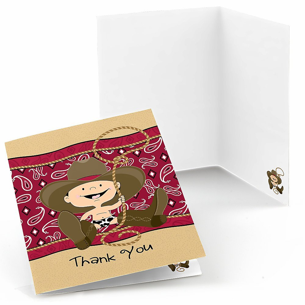 Little Cowboy - Baby Shower or Birthday Party Western Thank You Cards (8 count)