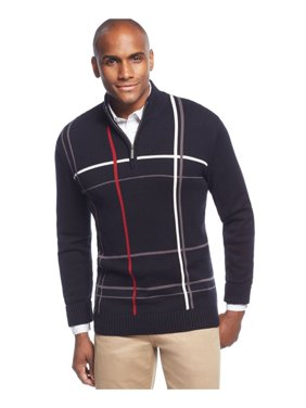 Mens Windowpane Quarter-Zip Pullover Sweater