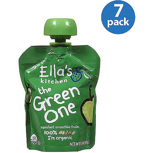Ella's Kitchen The Green One Smoothie Fruits, 3 oz, (Pack of 7)