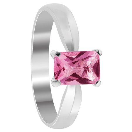 Gem Avenue 925 Sterling Silver Pink Color Cubic Zirconia Solitaire Ring - Pink Jewels