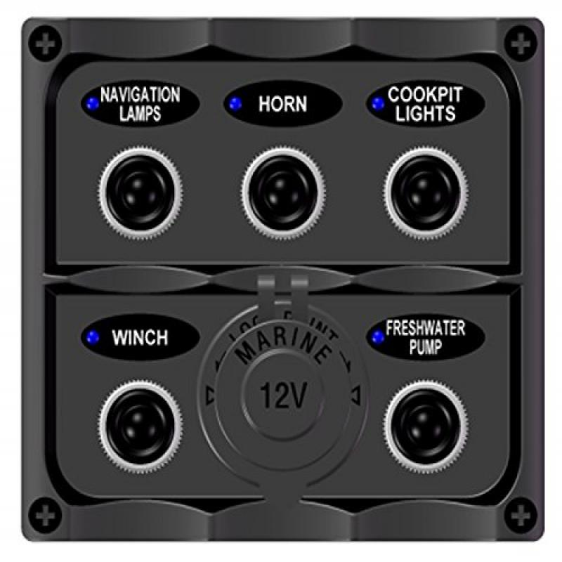 Bandc Marine Grade Boat 5 Way Toggle Switch Panel with 12...