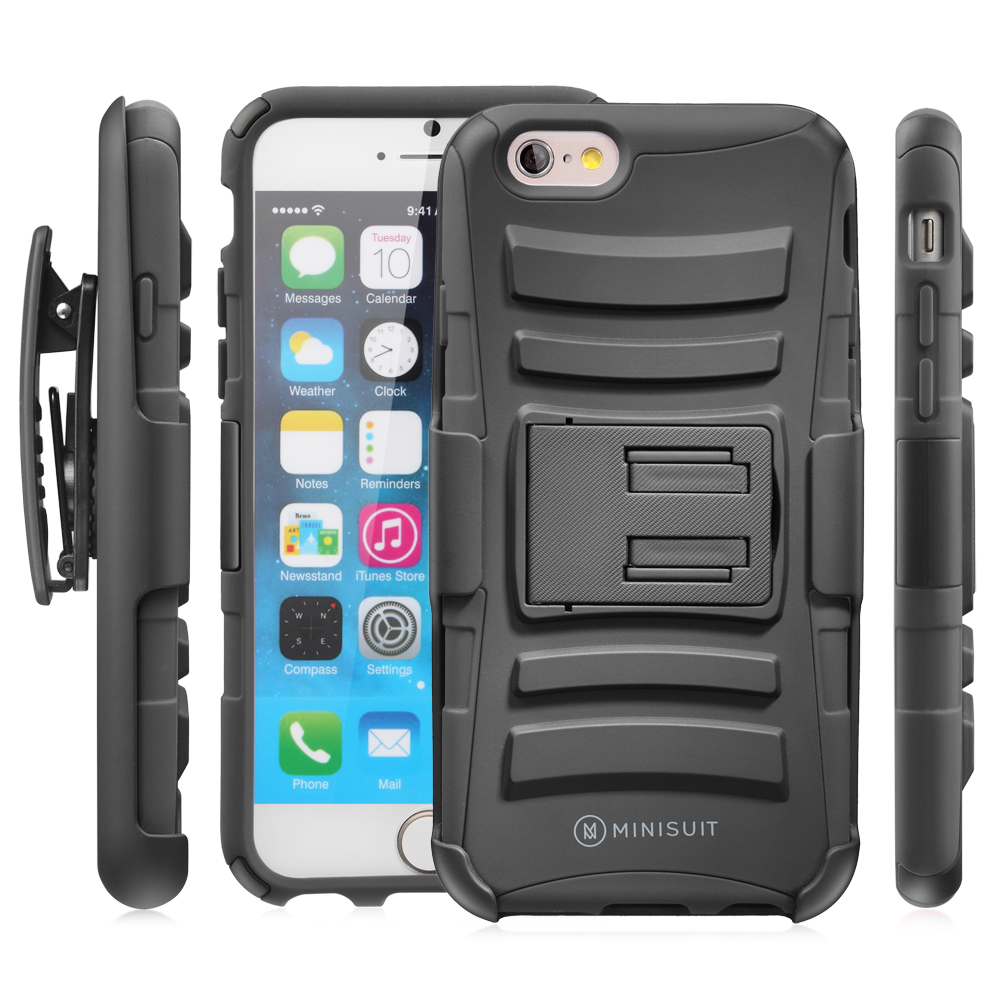 Minisuit Hybrid Holster Kickstand Belt Clip Case for Apple iPhone 6 6S Black [Dual Layer, Shock Absorbent, Heavy Duty]