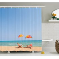 Seaside Decor  Beach Chair, Umbrella On Beach, Leisure Tourist Attractions Decorative Photo, Bathroom Accessories, 69W X 84L Inches Extra Long, By Ambesonne