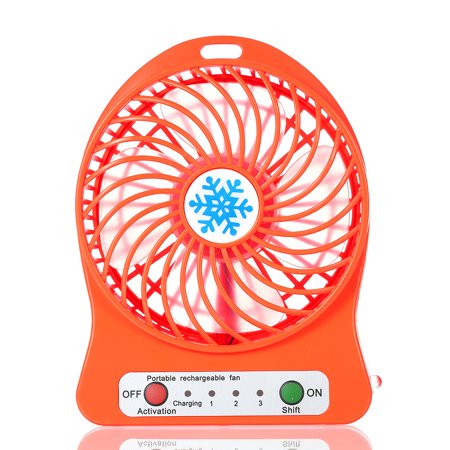 Red Led Fan (Portable Rechargeable LED Light Fan Mini Desk USB Charging Air Cooler 3 Mode Speed Regulation LED Lighting Function Cooling)