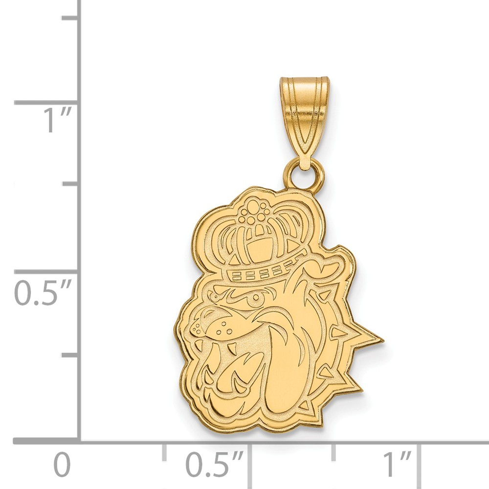 25mm x 16mm 925 Sterling Silver Yellow Gold-Plated Official James Madison University Large Pendant Charm