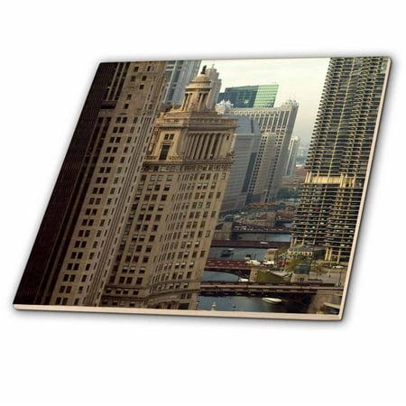 3dRose Chicago River, Michigan Avenue, Chicago, Illinois - US14 BFR0013 - Bernard Friel - Ceramic Tile, 4-inch