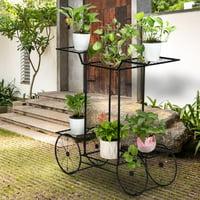 Ktaxon 6 Tiers Garden Cart Stand Flower Pot,Plant Holder Display Rack,4 Decorative Wheels Multilayer Parisian Style Plant Pot Holder Rack for Indoor,Garden,Patio
