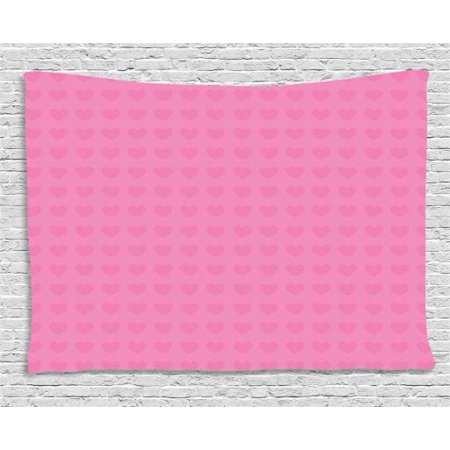 Pink Tapestry, Small Heart Shapes Valentines Day Love and Feelings Concept Pattern for Romantic Couples, Wall Hanging for Bedroom Living Room Dorm Decor, 80W X 60L Inches, Pink, by