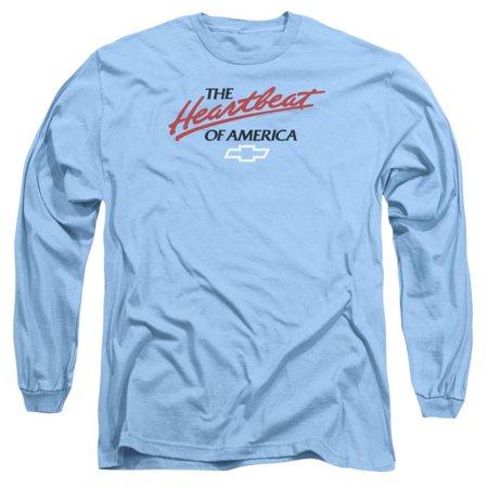 Long Sleeve: Chevrolet- Heartbeat Of America Apparel Long Sleeves - Blue