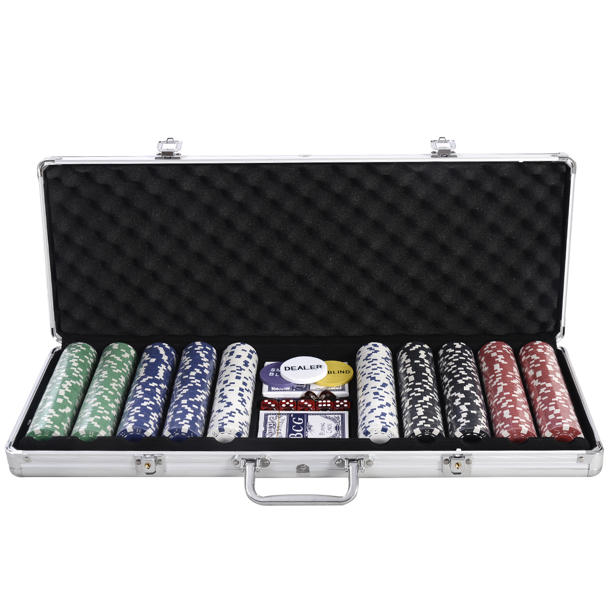 Costway New 500 Chips Poker Dice Chip Set Texas Hold'em Cards W  Silver Aluminum Case by Costway