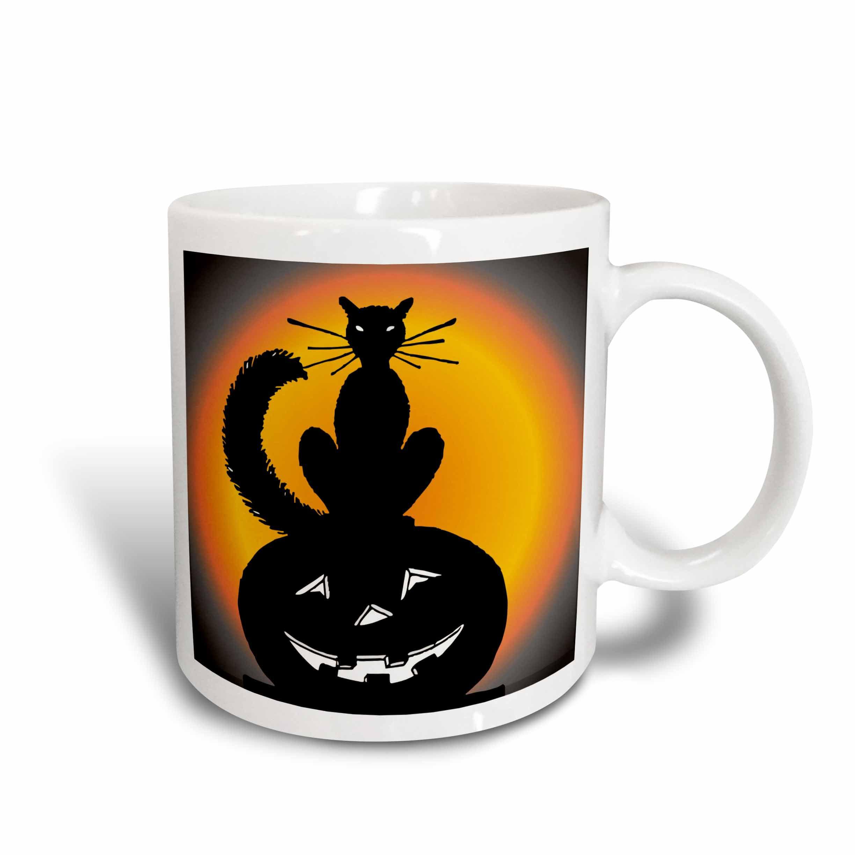3dRose Halloween Cat on Pumpkin, Ceramic Mug, 15-ounce