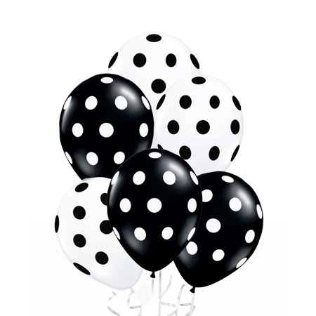 Polka Dot Balloons 11inch Premium Black and White with All-Over Print White and Black Dots Pkg/100, Superior Quality - Longer Lasting - Brilliant Colors By PMU