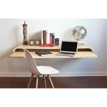 Orange22 Design Lab MIN-WD-RIFT-LRG Wall Mounted Desk With Pull Out Drawer, Satin Rift Oak - Large (Large Oar)