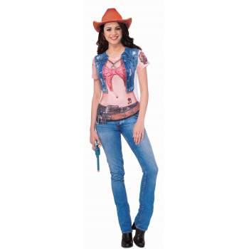 COWGIRL SUBLIMATION SHIRT - M - Cowgirl Boots Costume