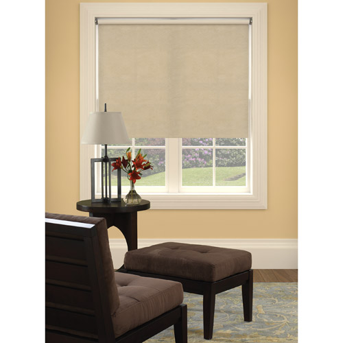 Bali Size-at-Home Vinyl Roller Shade, Suede Natural