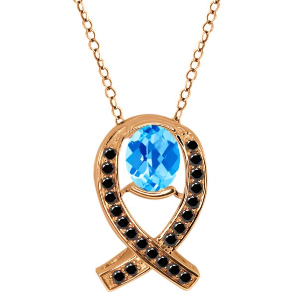 2.04 Ct Checkerboard Swiss Blue Topaz Black Diamond Gold Plated Silver Pendant