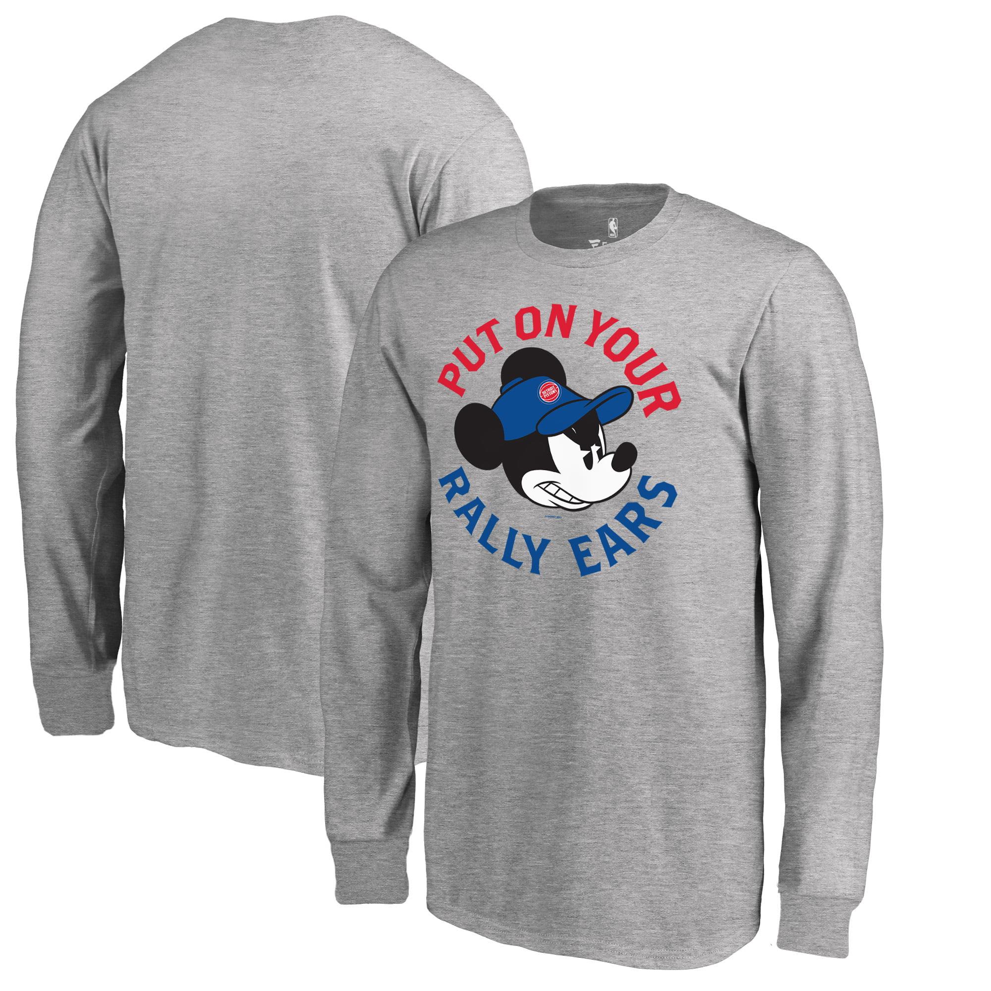 Detroit Pistons Fanatics Branded Youth Disney Rally Ears Long Sleeve T-Shirt - Ash