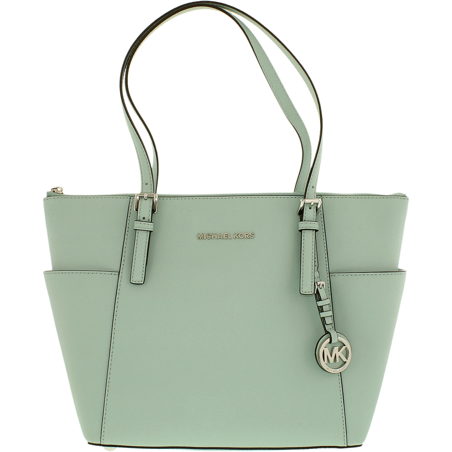 7df3e80e03788a Michael Kors - Women's Jet Set Top Zip Saffiano Leather Top-Handle Bag Tote  - Celadon Green - Walmart.com