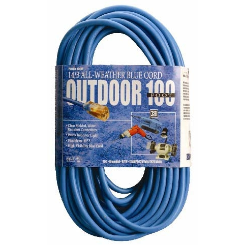 Coleman Cable 2469SW8806 100' 14/3 Blue Hi-Visibility/Low Temp Outdoor Extension Cord