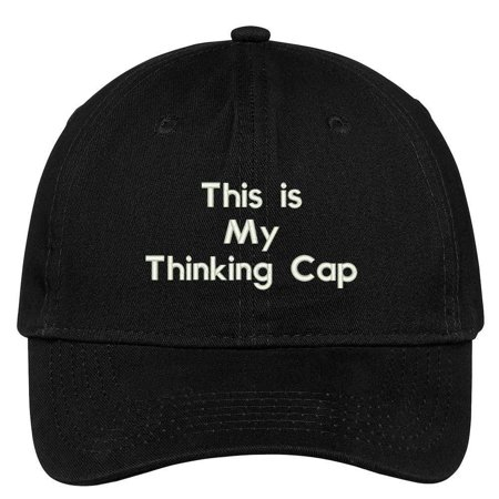 Trendy Apparel Shop This Is My Thinking Cap Embroidered Brushed 100% Cotton Baseball Cap - Black - Thinking Cap