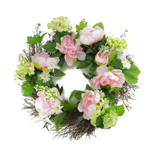 Northlight Seasonal 22'' Hydrangea and Peony Flower Artificial Spring Floral Wreath