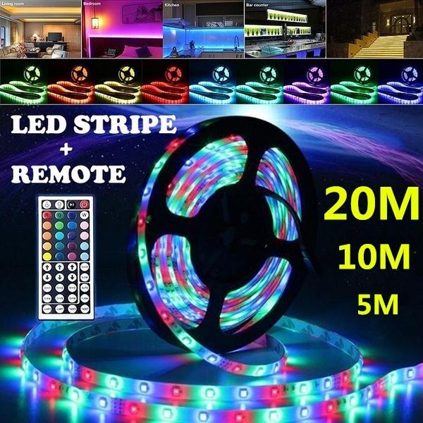 LED Strip Lights 10-20M 3528 RGB Dimmable TV Back Lighting+DC 12V Remote Control