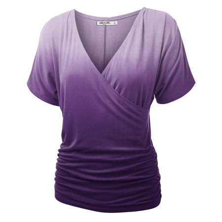 Ombre Striped Shirt (MBJ WT1137 Womens V Neck Short Sleeve Wrap Front Ombre Dolman Top XL PURPLE )
