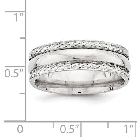 925 Sterling Silver 6mm Polished Size 10 Fancy Band Ring - image 2 de 4