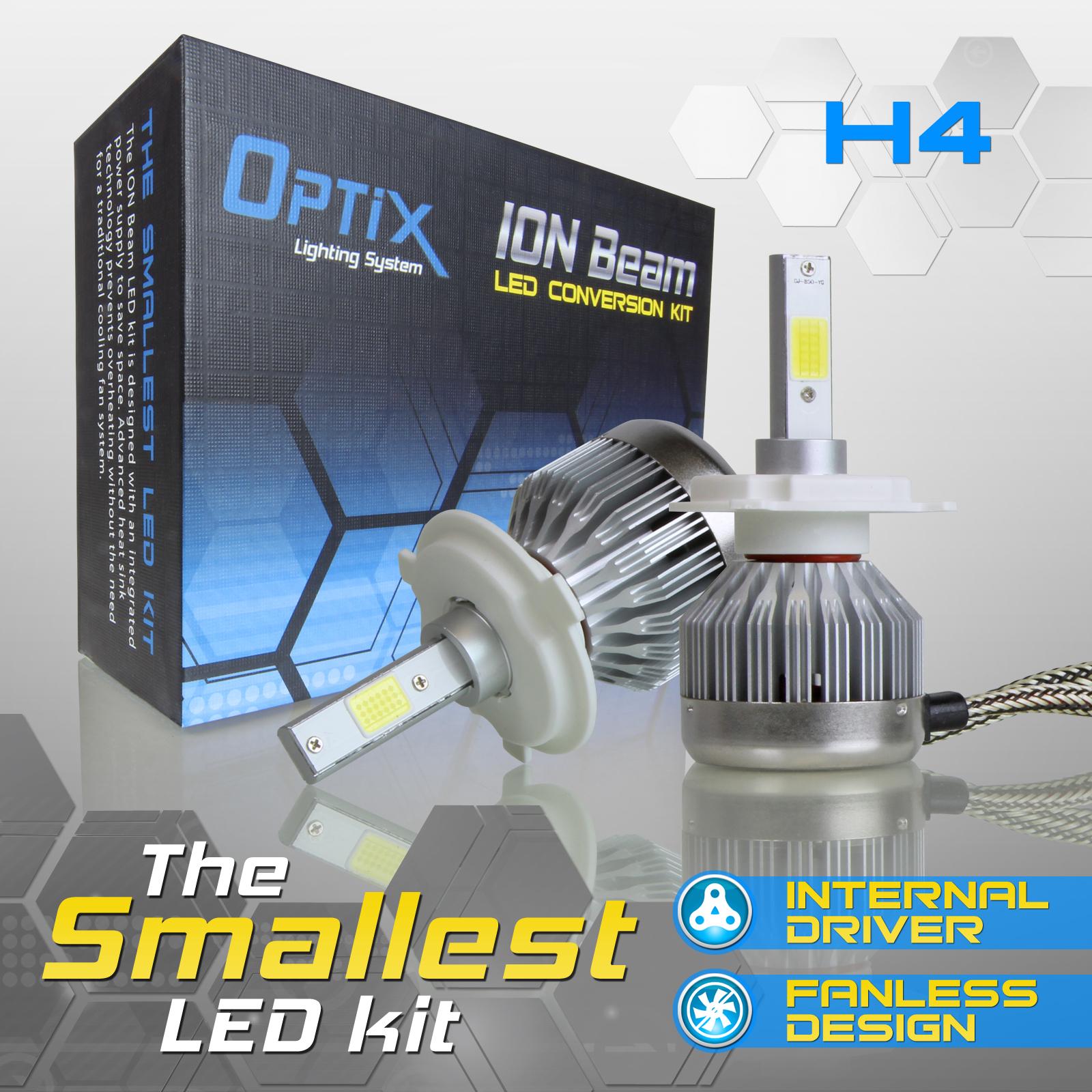 Optix H4 LED Ion Beam Headlight Bulb High/Low Beam Conversion Kit - 6000K White 60W 6000LM - Low Beam, High Beam, or Fog Light