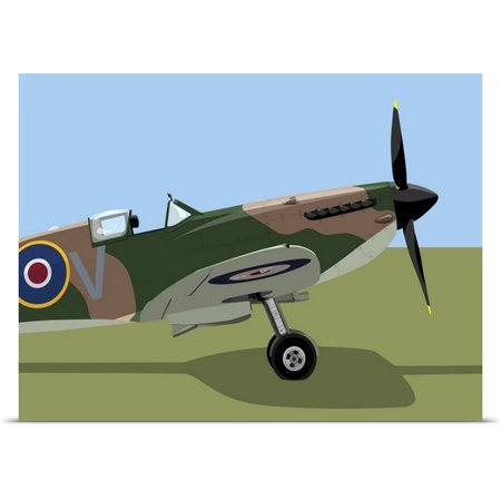 (Great BIG Canvas | Rolled Michael Tompsett Poster Print entitled Spitfire WWII Fighter)