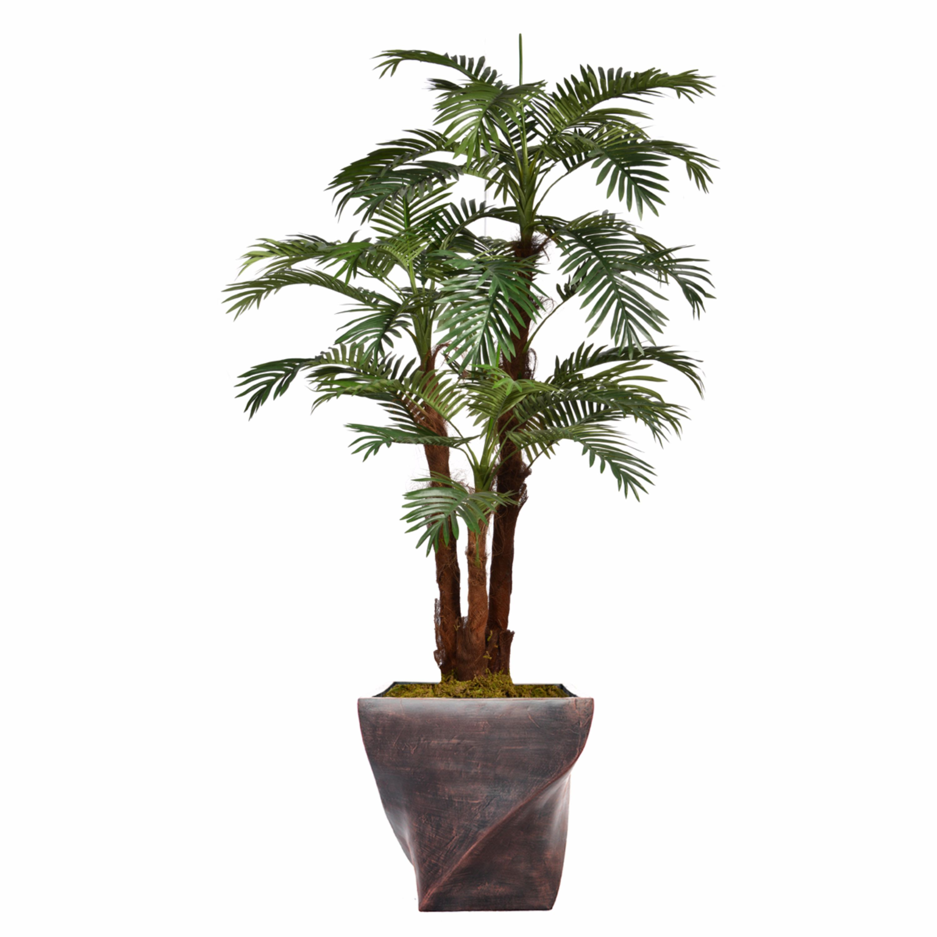 """75.5"""" Tall Palm Tree Artificial Decorative Indoor/ Outdoor Faux with Burlap Kit and Fiberstone Planter By Minx NY"""