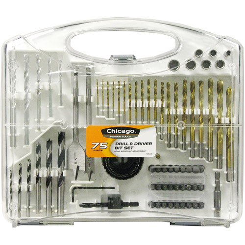 Chicago Power Tools Power Drill Accessory Set, 75-Piece