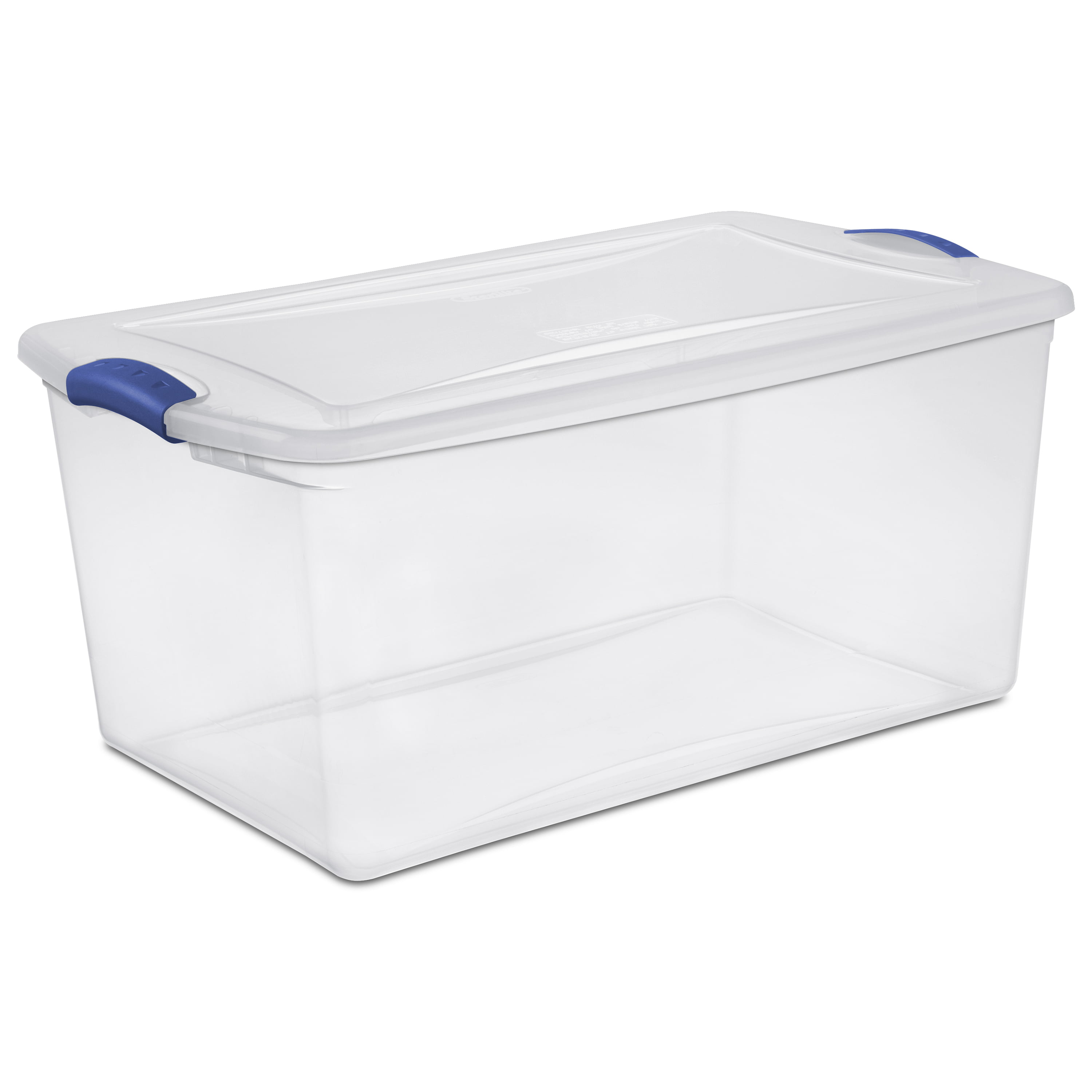 large plastic storage tote container clear stackable box 6 set with lid bin 66qt ebay. Black Bedroom Furniture Sets. Home Design Ideas