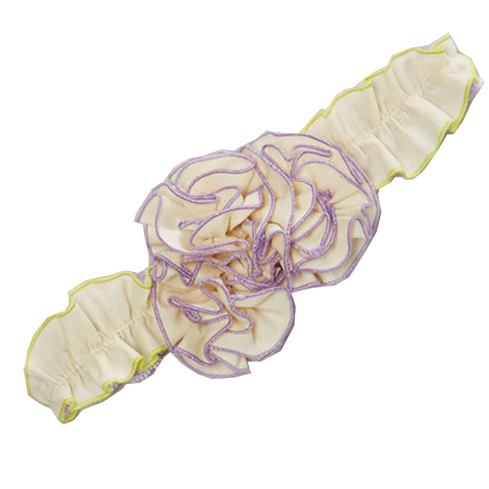 Girls Ivory Purple Floral Accented Cotton Stretchy Headband