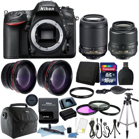 nikon d7200 digital slr camera w 18 55mm 55 200mm lens. Black Bedroom Furniture Sets. Home Design Ideas