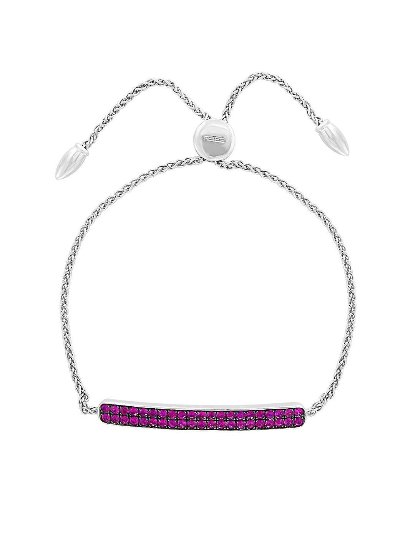Sterling Silver & Ruby Bolo Bracelet