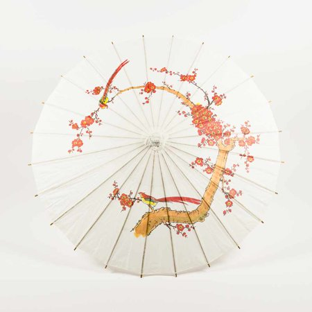 32 White Cherry Paper Parasol Umbrella by PaperLanternStore - Parasol White