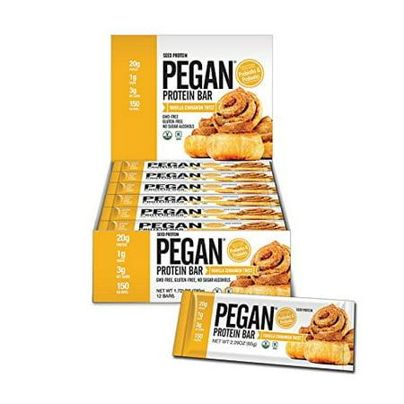 - Pegan Protein Bar (Vanilla Cinn Roll) 12 Bars (20g Organic Plant Protein) (3 Net Carbs 1g Sugar)