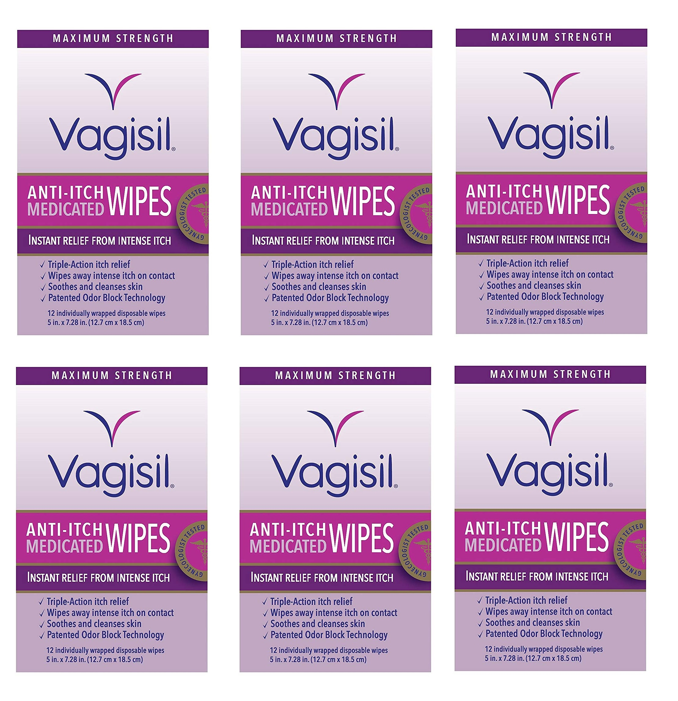 Vagisil Maximum Strength Anti Itch Medicated Wipes, Instant Relief From Intense Itch, 12 Disposable Wipes (Pack of 6)