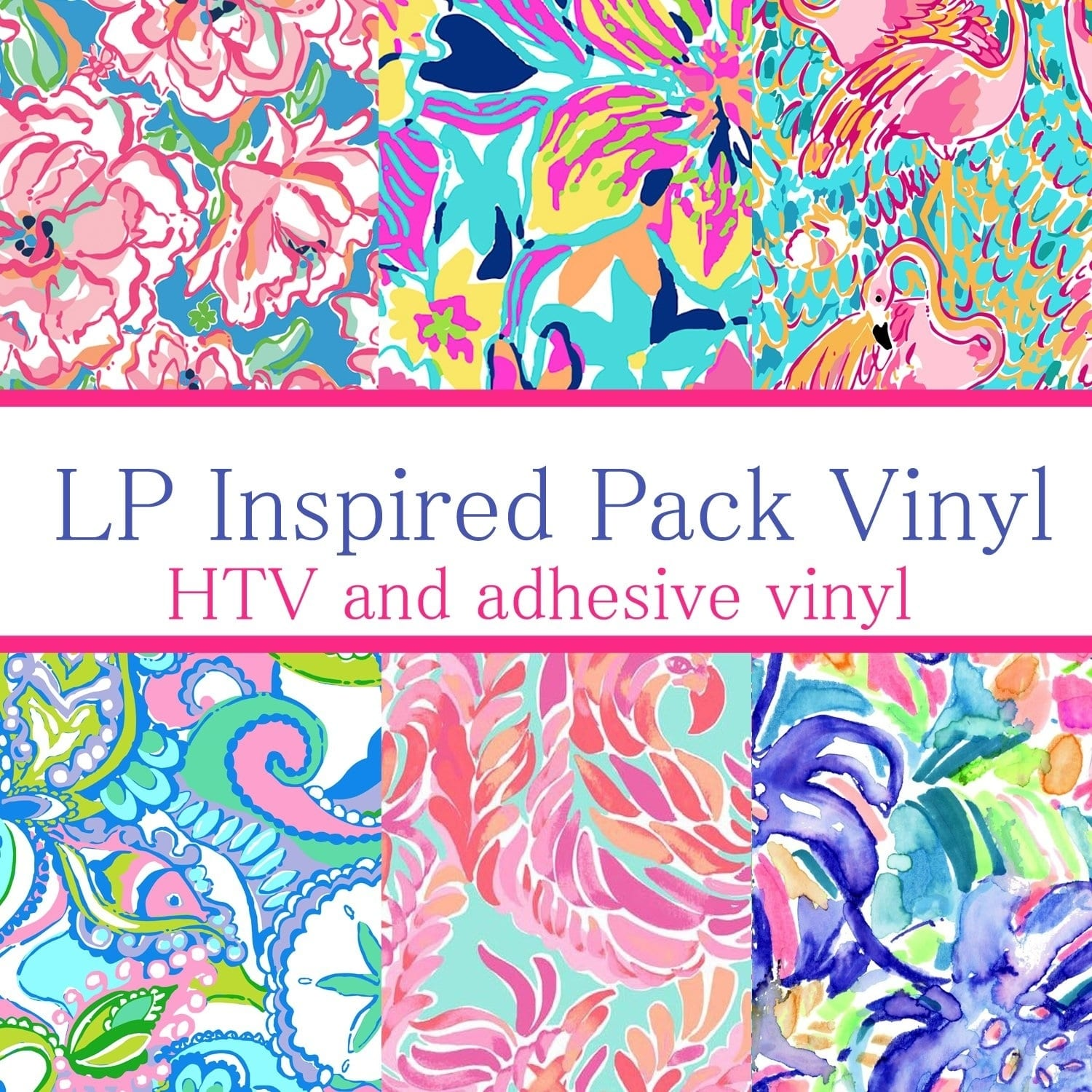 Vinyl Boutique Shop Craft vinyl Lilly Inspired vinyl Collection 3, PACK OF 6 sheets of VINYL